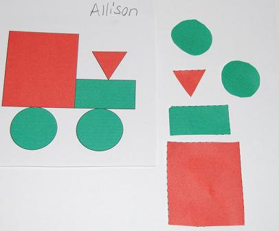 Christmas Shapes Name Train Activity for Preschool