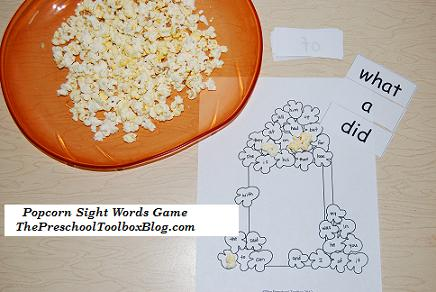 Popcorn Sight Words Game and Word Walls for Preschool & Kindergarten