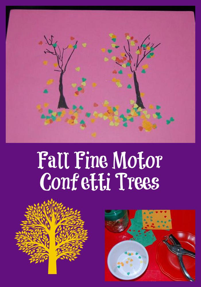 Fall Fine Motor Confetti Trees