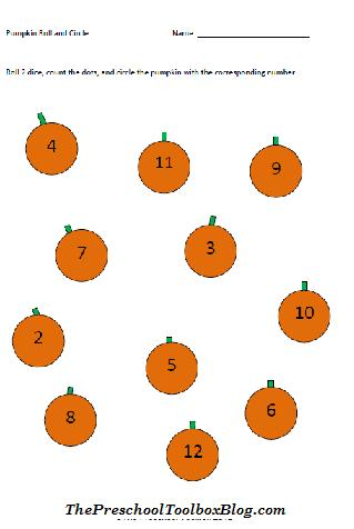 halloween math roll and circle and grocery sack tales for preschool - Halloween Preschool Activities