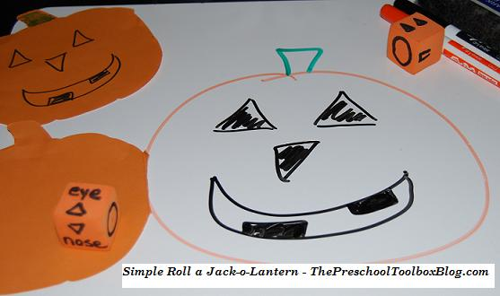 Roll a Jack-o-Lantern Game for Preschool and Kindergarten
