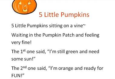 photo relating to Five Little Pumpkins Poem Printable named 5 Tiny Pumpkins Sitting down upon a Vine - a constructed Storyboard