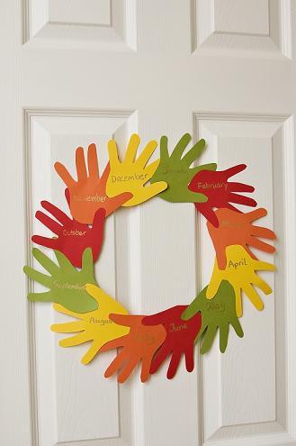 Fun Handprint Wreath from Education dot com