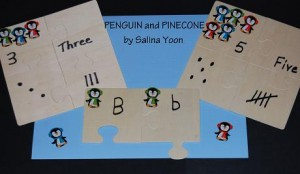 Penguin and Pinecone Math and Literacy Puzzles