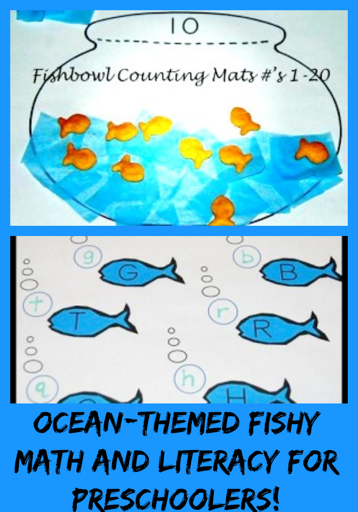 Fishbowl Counting Mats and Fishy Letters - Ocean Theme for Preschool ...