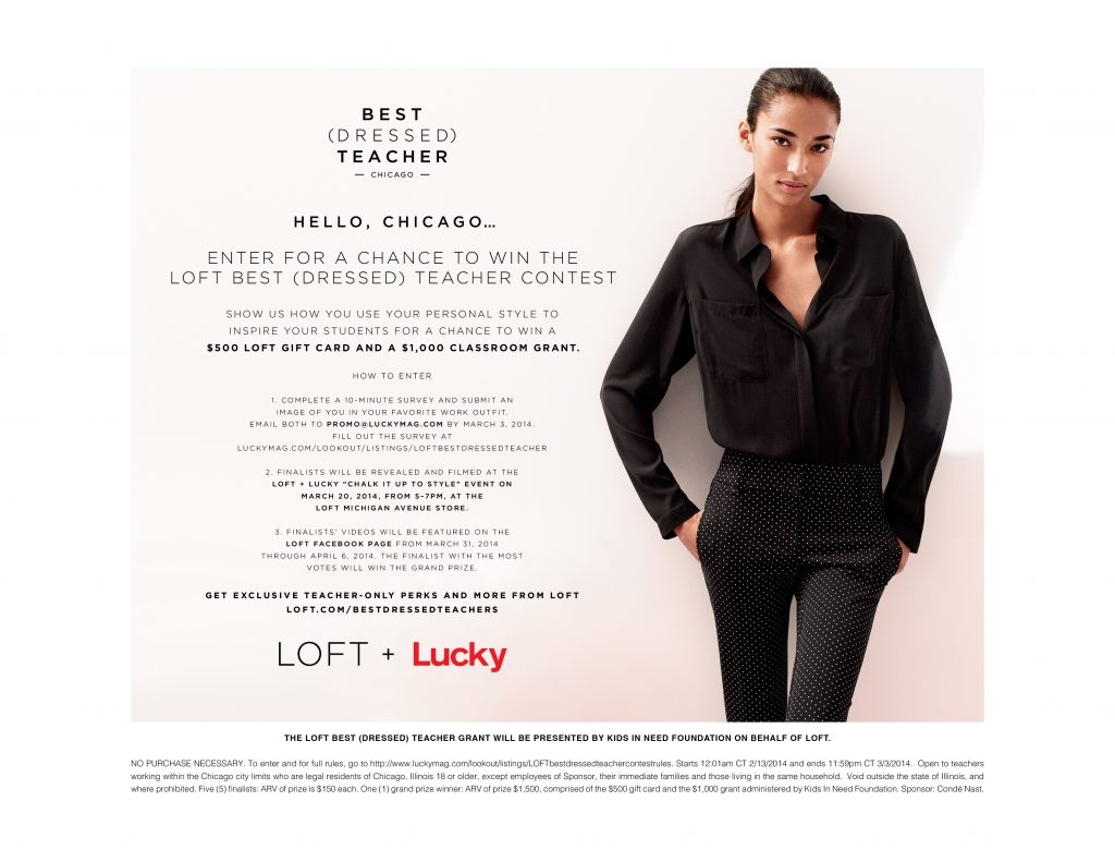 LOFT & Lucky Chicago Teachers Contest
