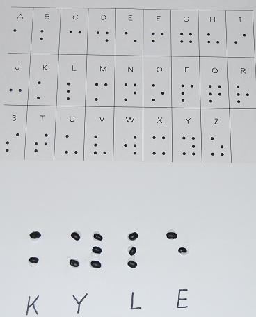 Braille Alphabet Names formed with Dried Beans
