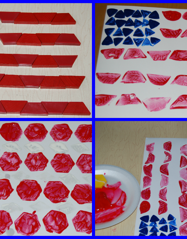 EASY Patriotic Pattern Block Painted Flag Craft for Preschool