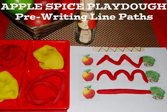 Apple Theme for #Preschool: Scented Playdough Pre-Writing Activity #PlayfulPreschool