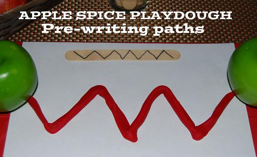 Apple Theme Playdough Writing