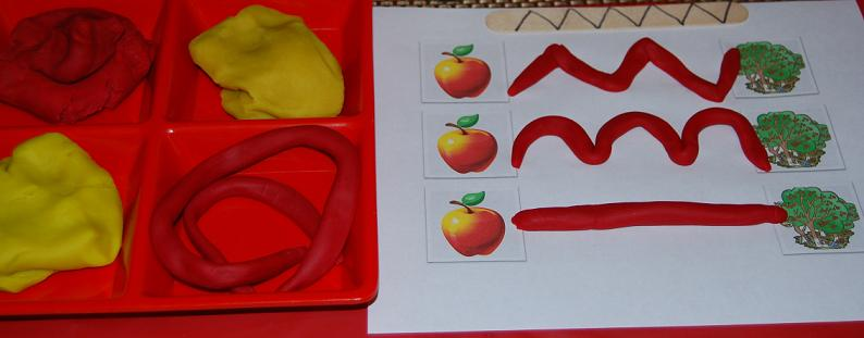 Apple scented playdough line paths for preschool