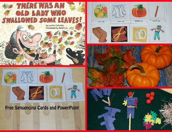 There Was An Old Lady Who Swallowed Some Leaves PowerPoint & Sequencing Cards #PlayfulPreschool