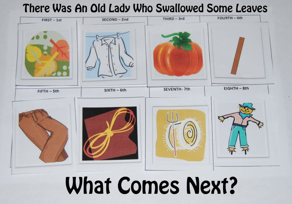 There Was An Old Lady Who Swallowed Some Leaves Story Cards