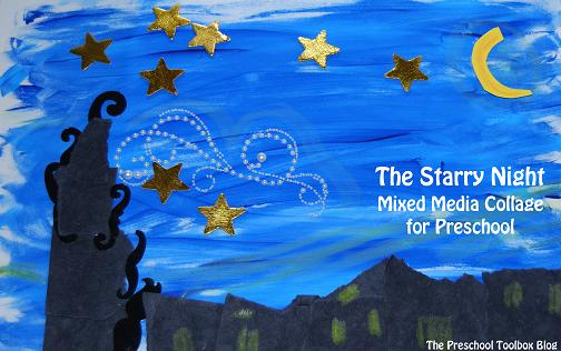 Starry Night Mixed Media Collage For Preschool