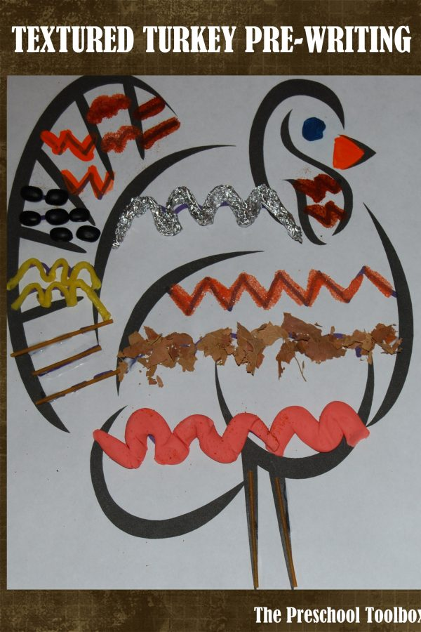 Textured Sensory Turkey Pre-Writing Activity for #PlayfulPreschool