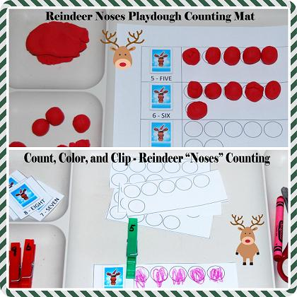 Reindeer Noses Playdough Math Mats for Preschool