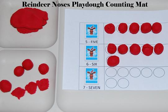 Reindeer Noses Playdough Counting Mats