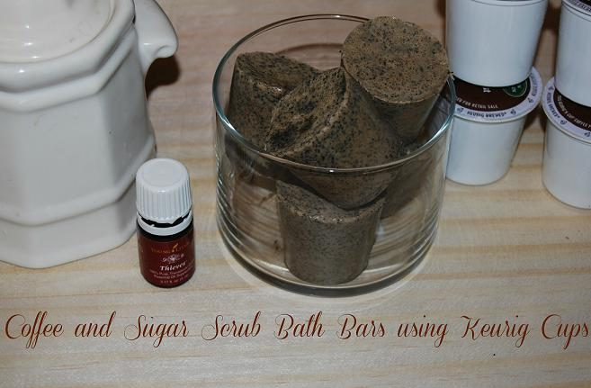 A delightful coffee and sugar scrub using Essential Oils and Keurig Cups molds