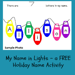 My Name in Lights Activity for Preschool and Kindergarten