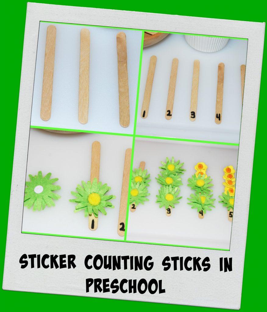 Sticker Counting Sticks in Preschool Collage