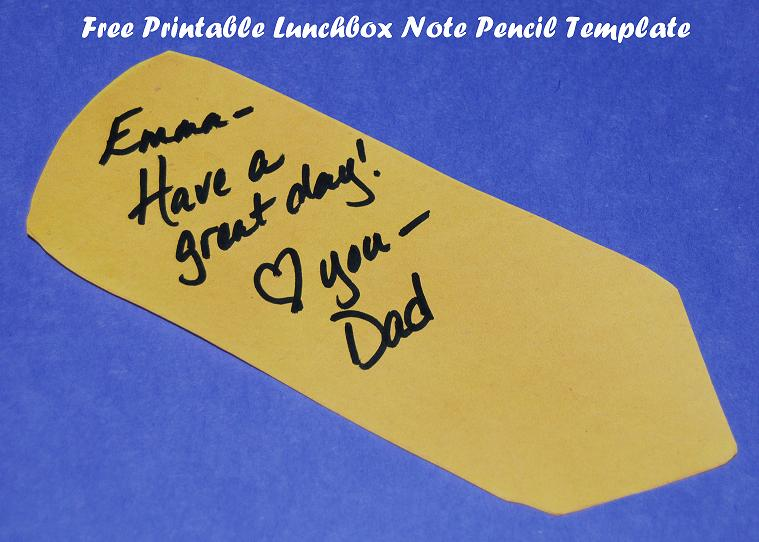 Lunchbox Notes Pencil Template