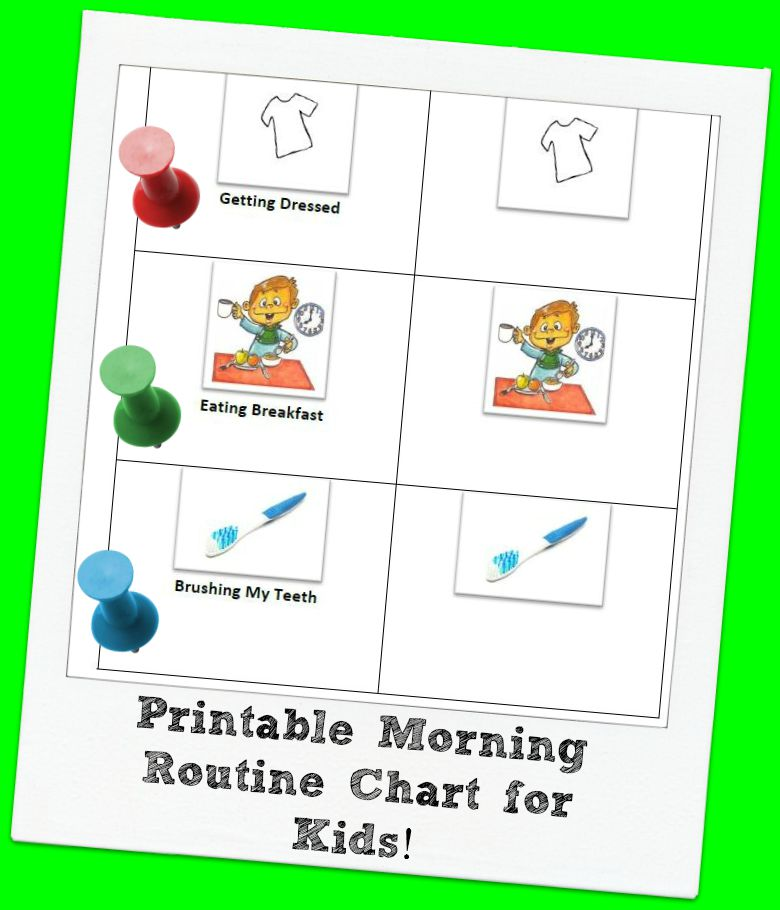 Printable Visual Morning Routine Chart for Kids