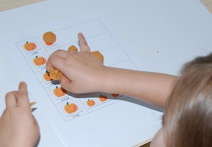 Pumpkin Playdough Mat for One-to-One Correspondence in Preschool