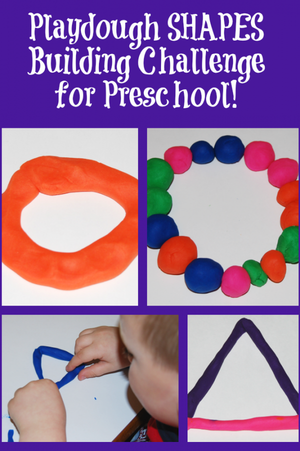 Simple Playdough Shapes Building Challenge for Preschoolers!