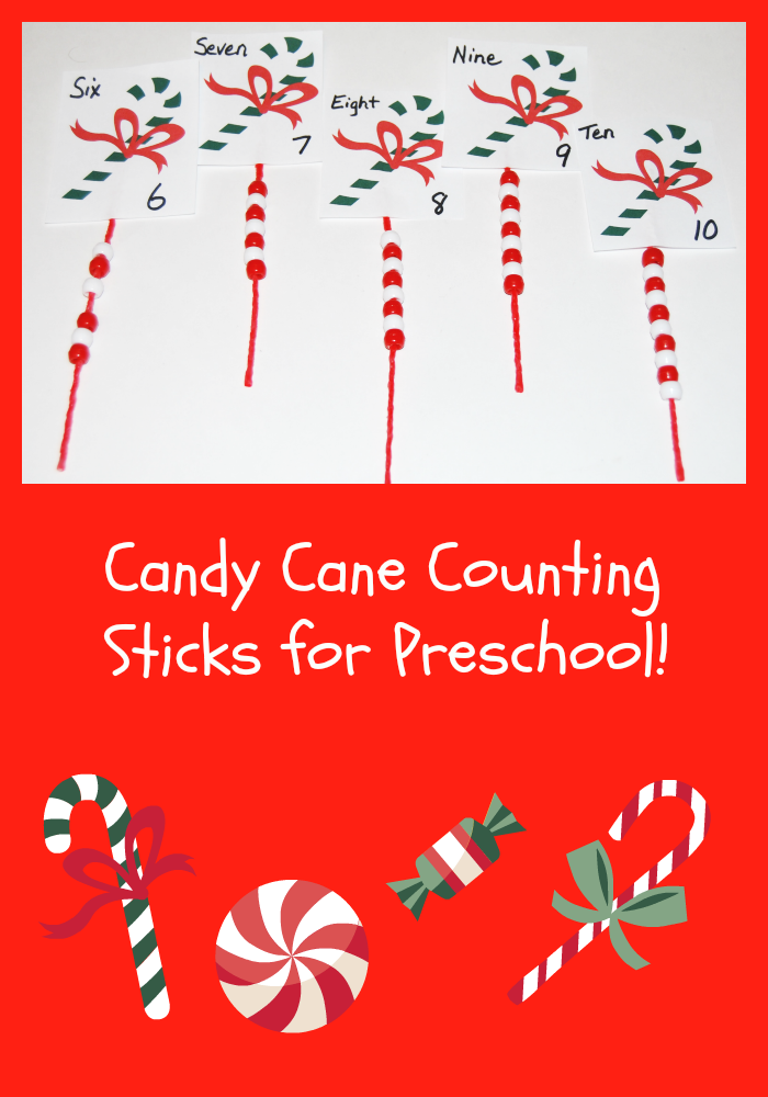 Candy Cane Counting Sticks for Preschoolers