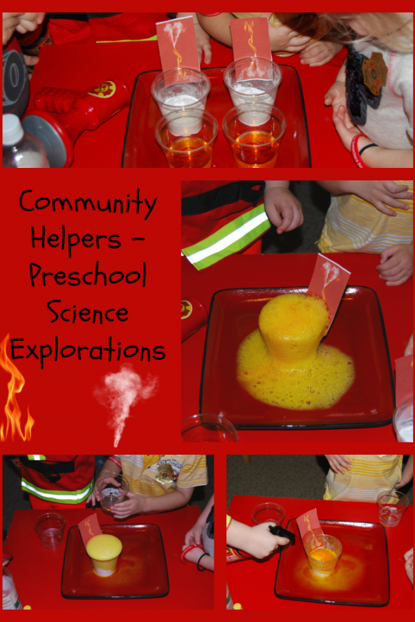 Community Helpers Theme for Preschool:  Bubbly Fires Science Activity!