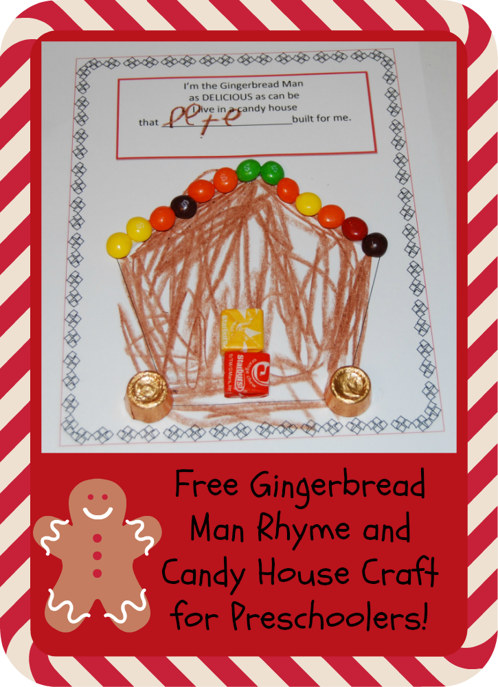 Gingerbread Man Rhyme and Candy House Craft for Preschoolers (2)