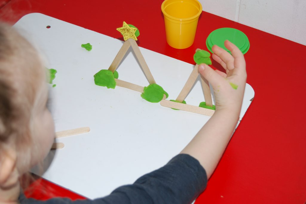 STEM Christmas Tree Building Challenge for Preschool
