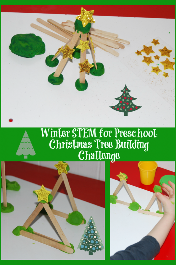 Winter STEM Activity for Preschool: Evergreen Tree Building Challenge