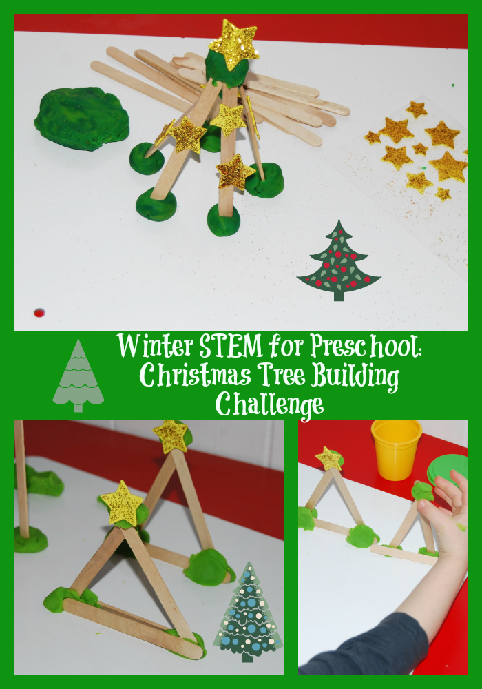 Winter STEM for Preschool Christmas Tree Building Challenge