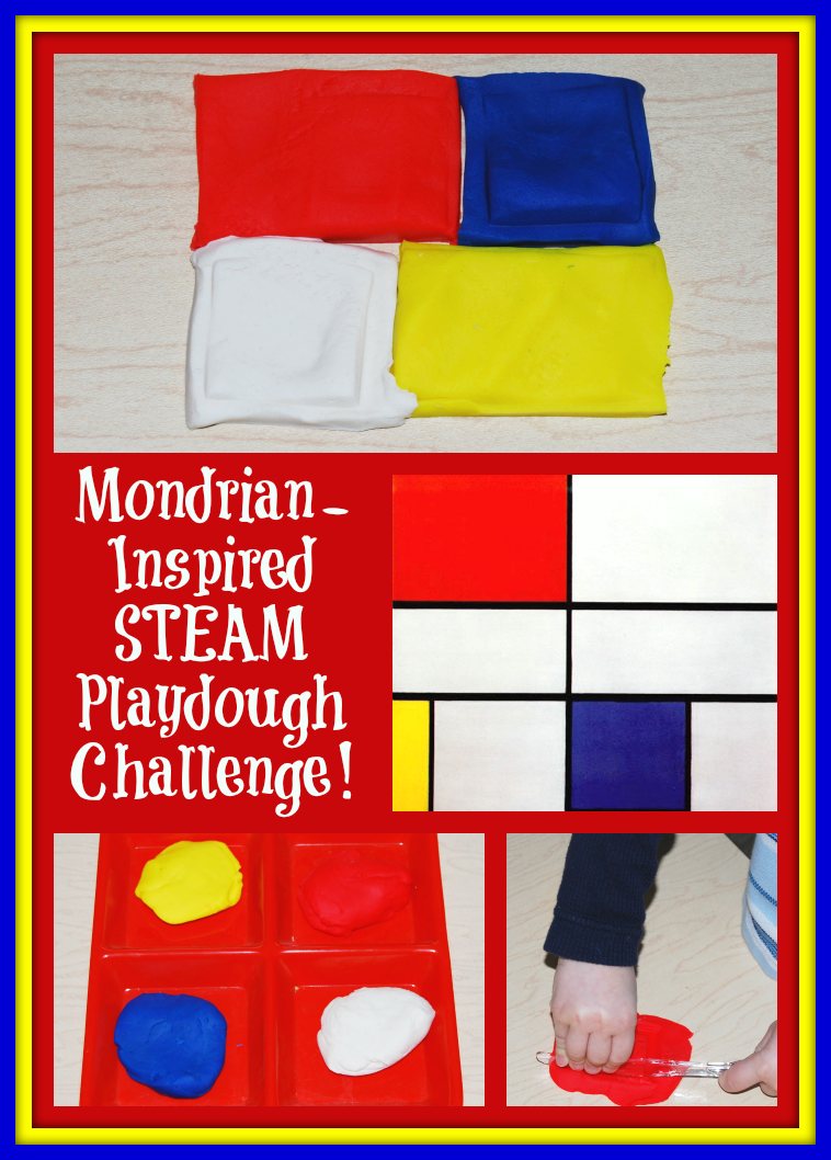 Mondrian-Inspired STEAM Playdough Challenge for Kids