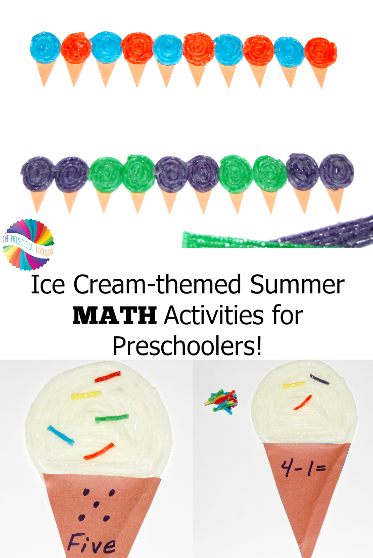 Ice cream themed summer math activities for preschoolers the