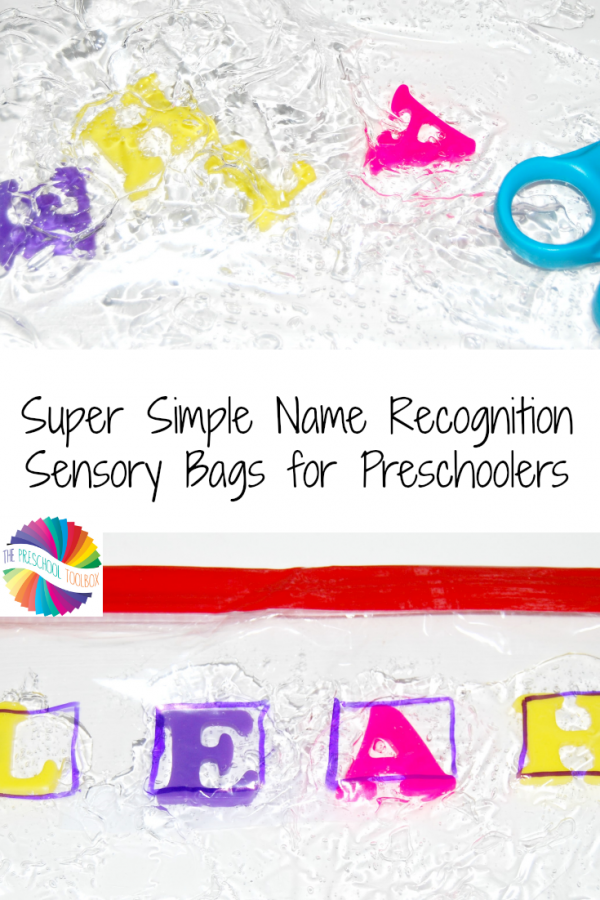 Super Simple Sensory Name Recognition Bags for Preschoolers!