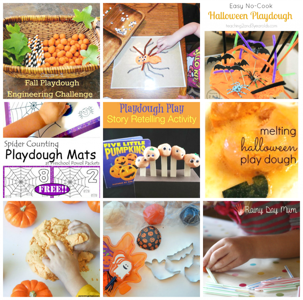 Halloween Playdough Centers and Activities for Preschoolers