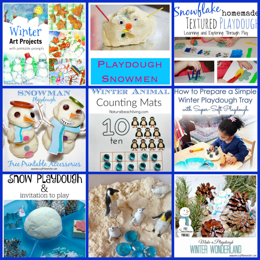 Snowmen and Winter Playdough Centers and Activities for Preschoolers