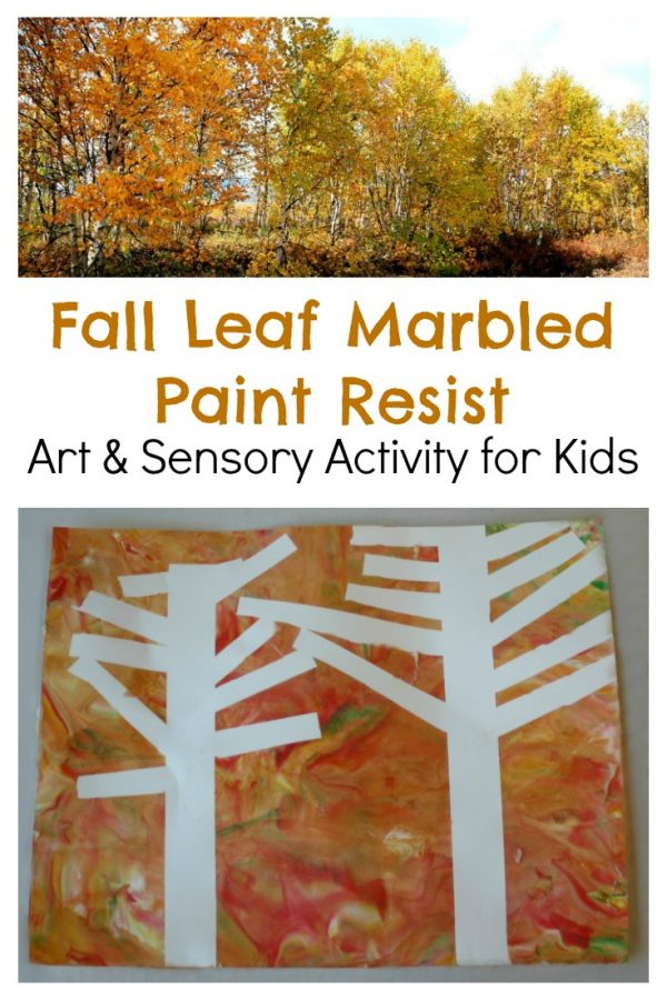 Fall Trees Marbled Paint Resist Art Activity for Kids!