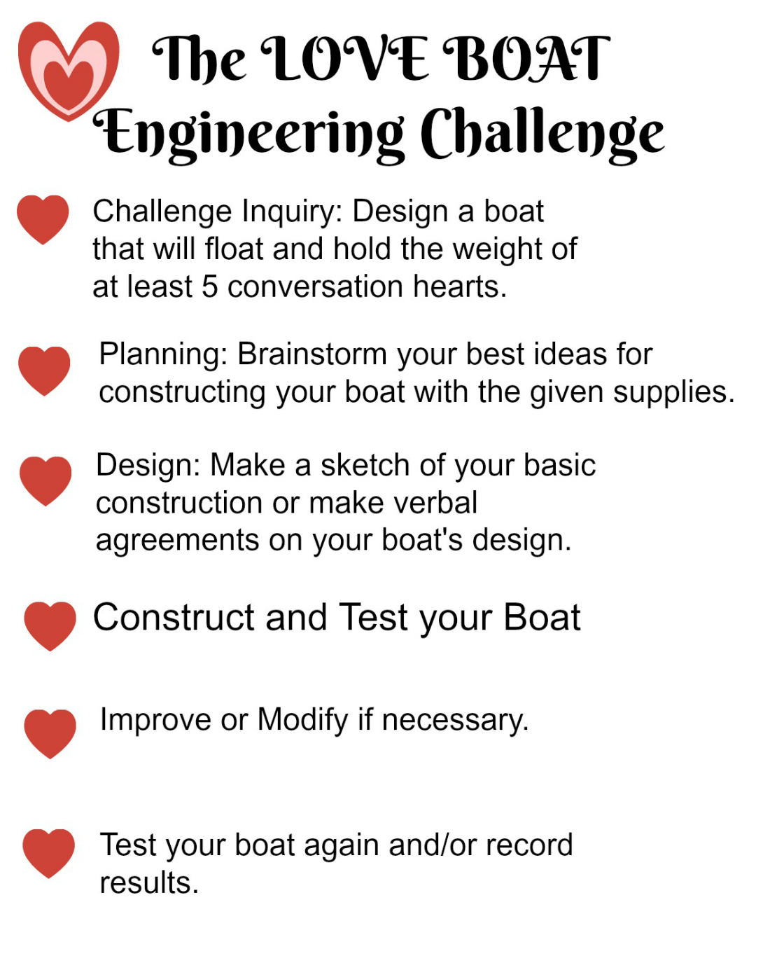 STEAM Challenge for Kids_Creating the LOVE BOAT
