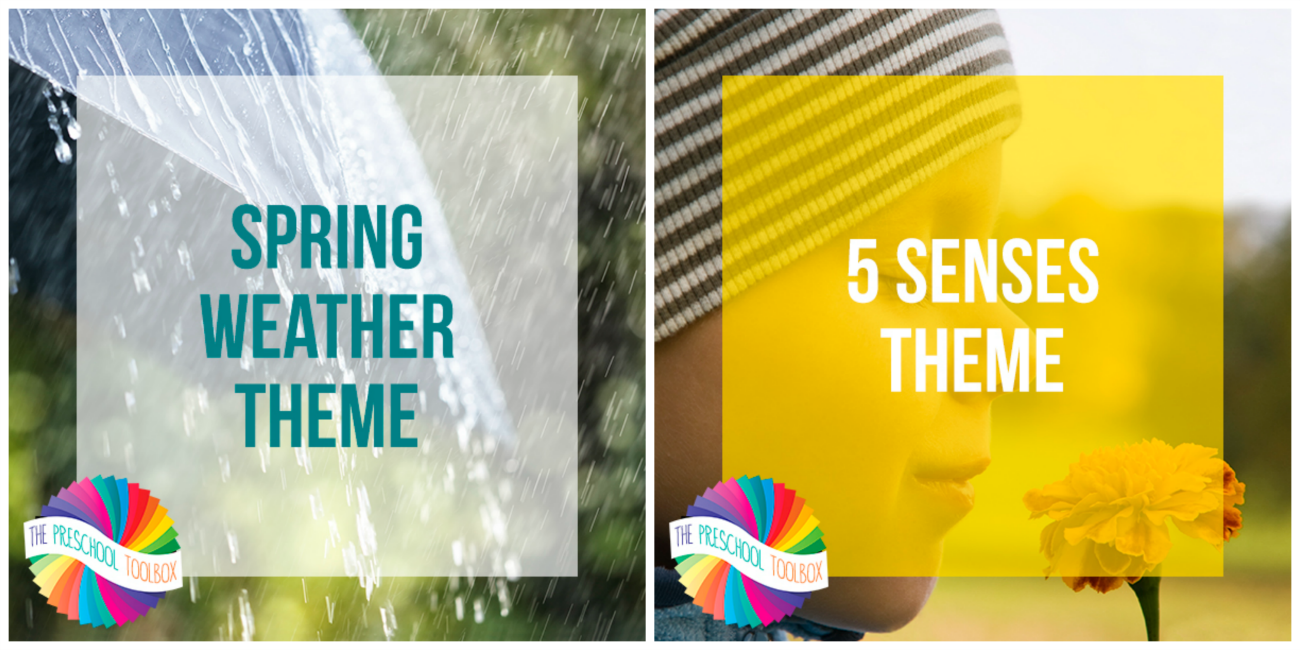 Spring Weather and 5 Senses Playful Learning Themes for Preschoolers.