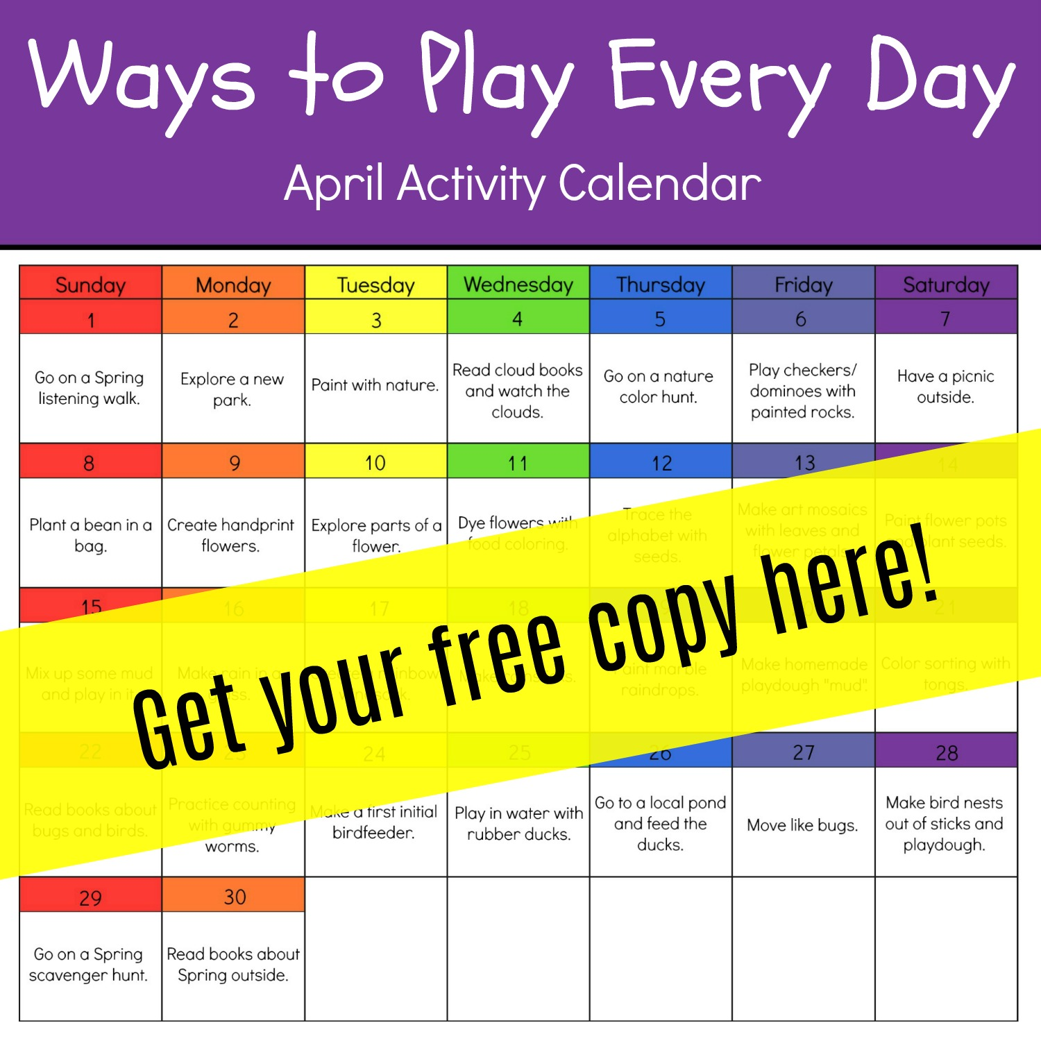 April Activity Calendar for Preschool