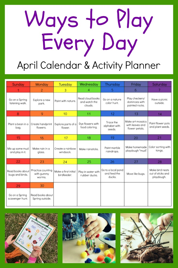 Kindergarten Calendar Of Activities : Ways to play every day april activity calendar for