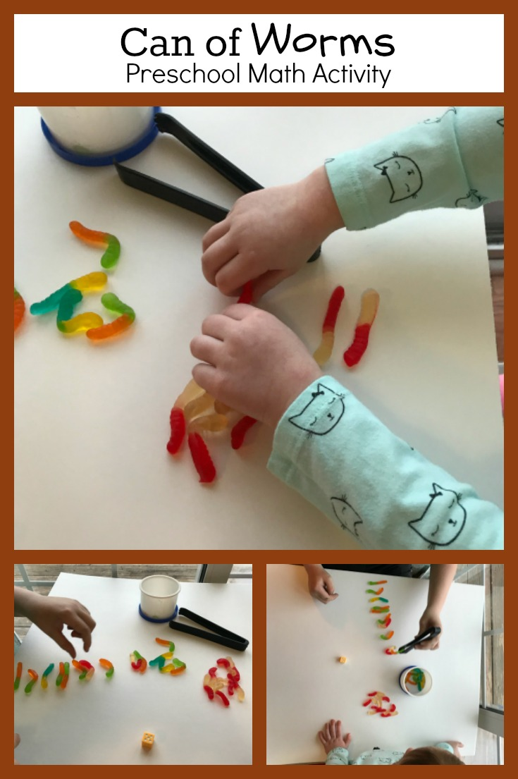 Can of worms counting game for preschoolers