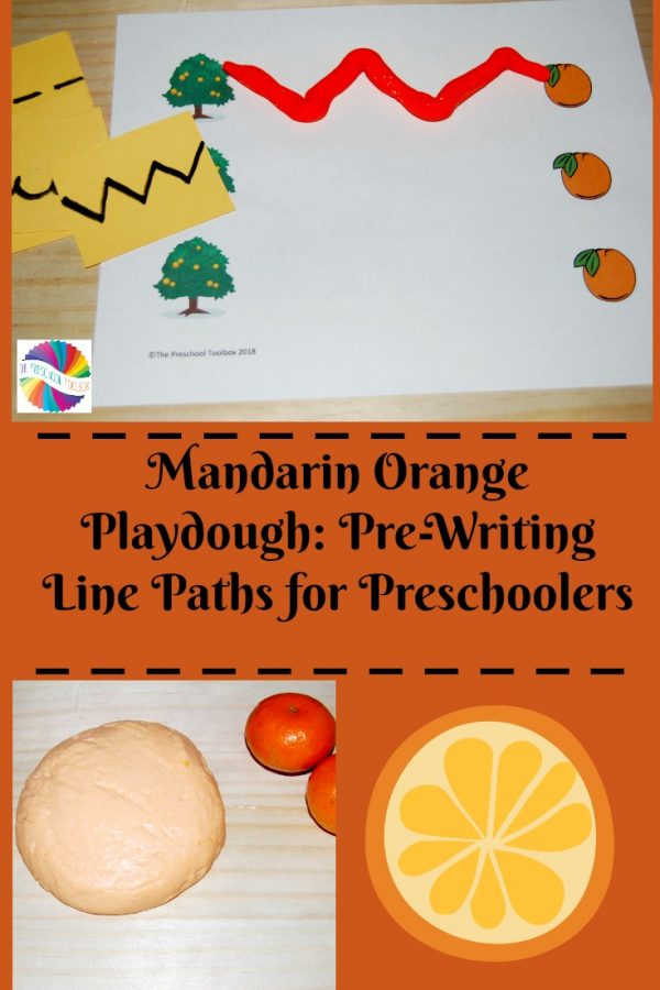 Mandarin Orange Playdough: Pre-Writing Line Paths for Preschoolers!