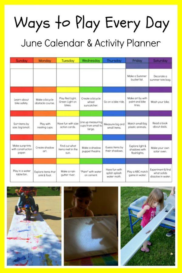 June Printable Activity Calendar for Preschool