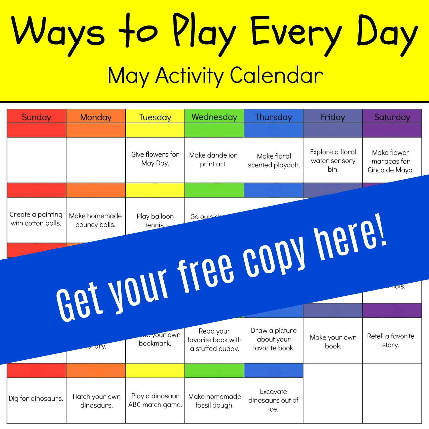 Playful Learning May Activity Calendar for Preschool