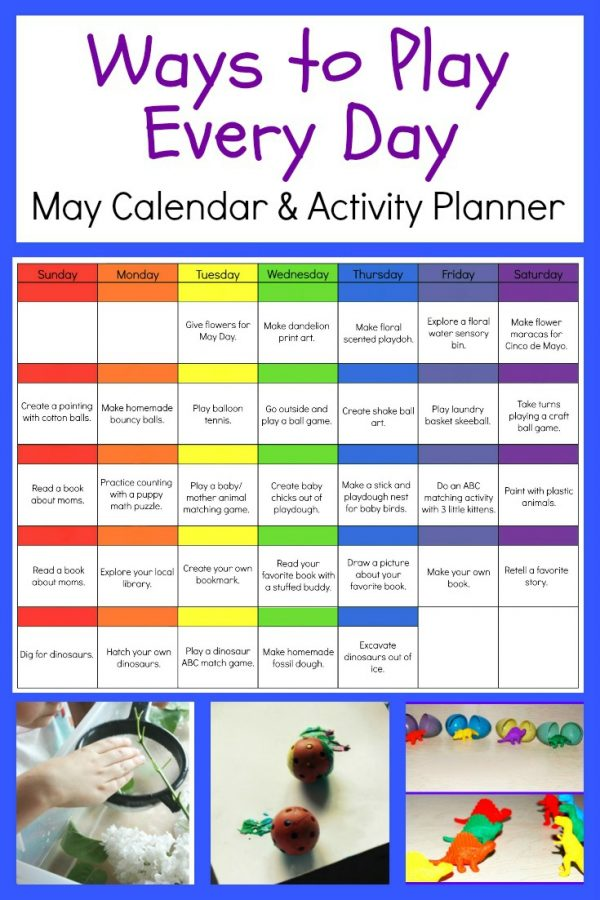 Ways to Play Everyday May Activity Calendar for Preschool