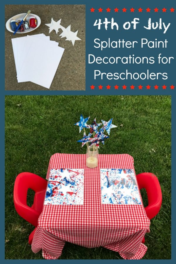 4th of July Splatter Paint Art Decorations for Preschoolers!